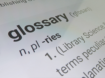the word glossary as it appears in the dictionary