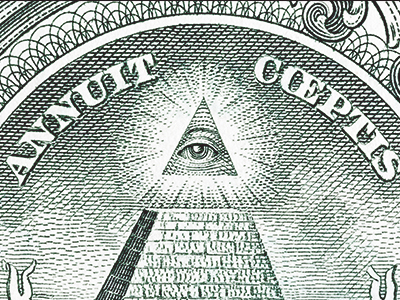 The Eye of Providence symbol on the U.S. dollar